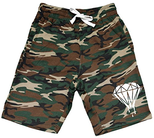 Men's Dripping Diamond V293 Camo Fleece Jogger Sweatpant Gym Shorts – DiZiSports Store