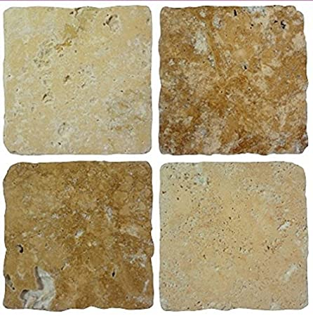 LPS Pack of 10 cream brown stone travertine effect mosaic tile ...
