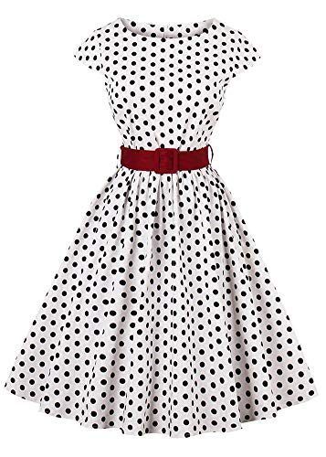 Nihsatin Vintage Polka Dot Dress 1950s Waist Belt Cocktail Party Swing Dress
