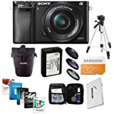 Sony Alpha A-6000 Digital Camera Bundle with 16-50mm E-MT Lens. Value Kit w/ Acc