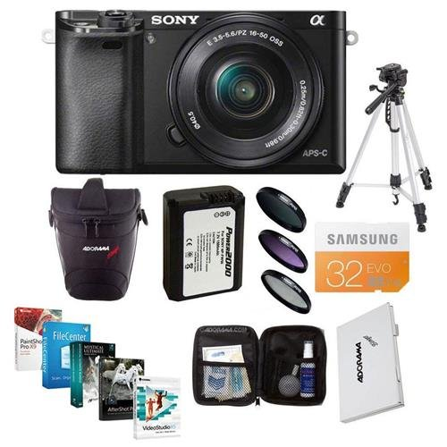 (Sony Alpha A-6000 Digital Camera Bundle with 16-50mm E-MT Lens. Value Kit w/ Acc)