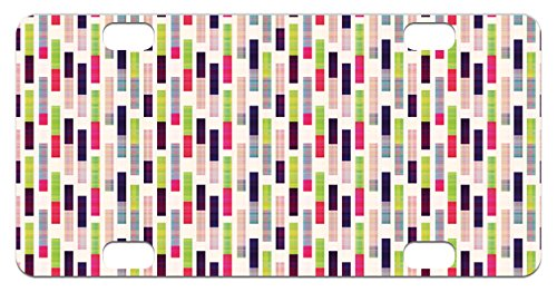 Striped Mini License Plate by Lunarable, Futuristic Hipster Trippy Repeating Borders in Vivid Tiles Modern Artwork Print, High Gloss Aluminum Novelty Plate, 2.94 L x 5.88 W Inches, Fuchsia Lime Repeating Border