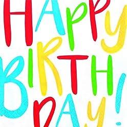 Schulanfang 20 Servietten Oh Happy Day als Tischdeko mit Konfetti f/ür den den Geburtstag Jubil/äum und Jede andere Feierlichkeit 33x33cm