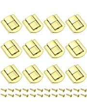 DXLing 12 Pieces Toggle Catch Lock 25 x 20.5mm Hasp Chest Lock Latch Retro Wood Box Chest Lock Latch Clasp Trinket Box Lock Buckle with Screws for Jewelry Box Gift Box – Golden