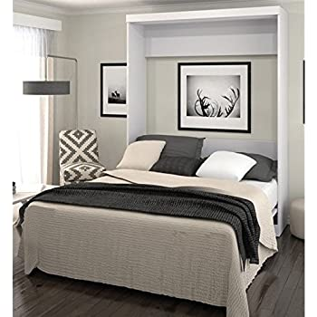 Amazon Com Bestar Boutique Murphy Wall Bed Queen White