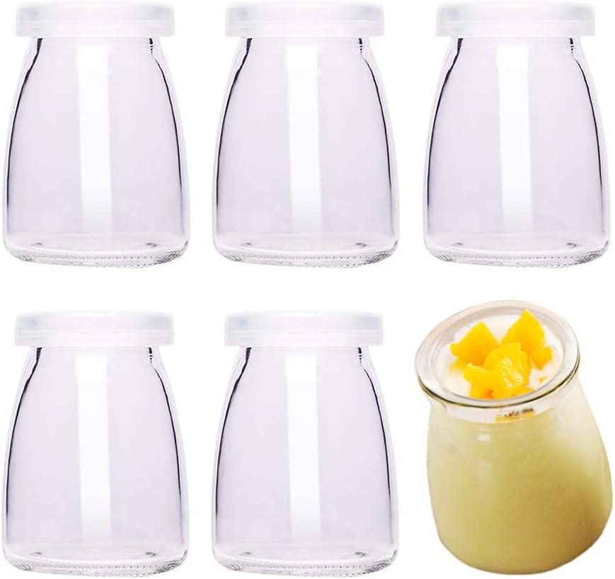 Danmu Art - 6 tarros de cristal para pudín de yogur, 100 ml, con tapas de plástico, mini taza, pequeñas botellas de vidrio y postres, decoración