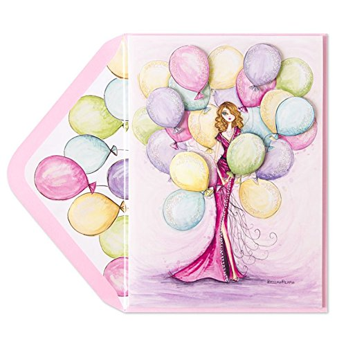 Papyrus Elegant Glitter Embellished Greeting Card - Bella Pilar Diva Gown with Balloons - If Your Birthday is Half as Amazing as You Are It Will be One Beautiful Fun Extraordinary Day Diva Gown