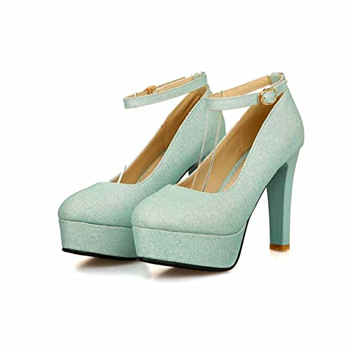 6a9003900e5 DecoStain Women's Glitter Ankle Strap High Heels Platform Pumps Wedding  Party Dress Shoes