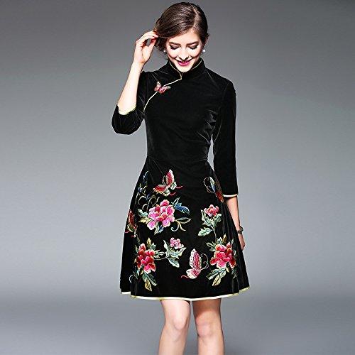 ZHUDJ Señoras _ Womens Modificado Una Palabra Delgado Vestido De Otoño E Invierno black