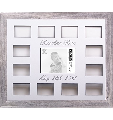 Custom Calligraphy 12 Month Timeline Newborn Collage 18 by 22-inch Picture Frame with White Mat and Wall Hangers by Creative Picture Frames