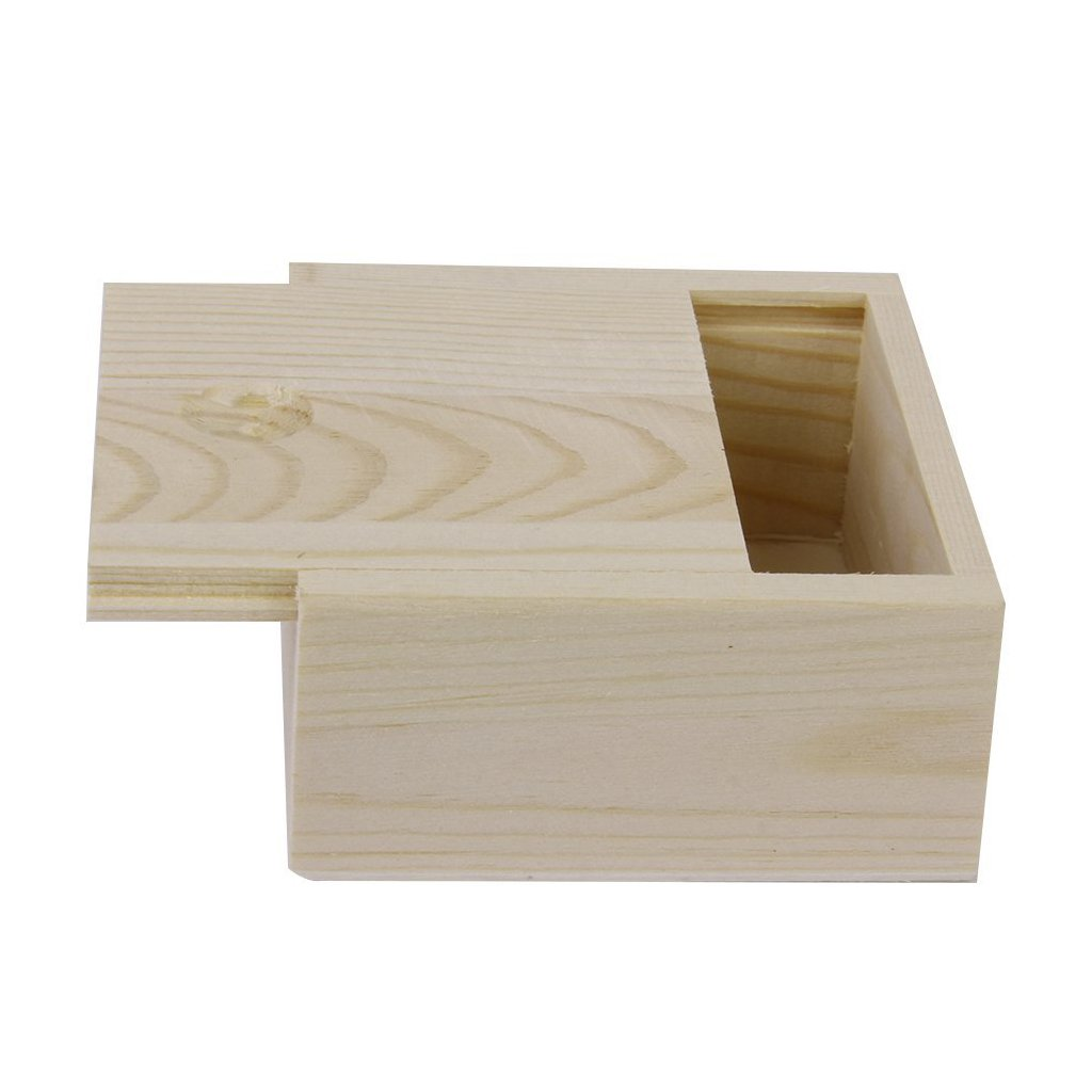 wooden box - TOOGOO(R)Small Plain Wooden Storage Box Case for Jewellery Small Gadgets Gift Wood color