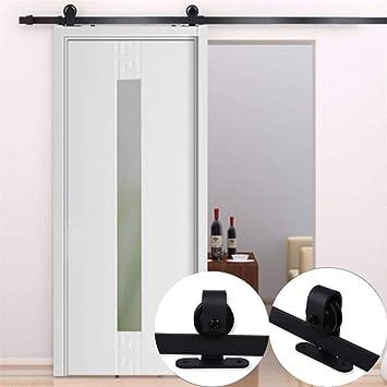 Kit de riel corredero para puerta corredera, polea con riel plegable, gran rueda negra para puerta corredera, puerta colgante de madera, separador de grano, armario de acero inoxidable, 6 FT (200 cm):