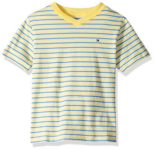 Tommy Hilfiger Big Boy's Stripe short sleeve tee shirt Shirt, lemon drop, Medium (12/14) (Stripe Shirt Hilfiger Tommy)