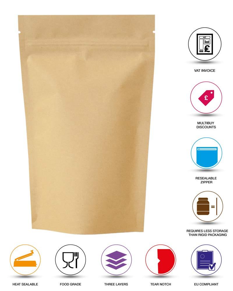 100qty SP2-11cm x 17cm 7cm rightpak Kraft papel aluminio stand up bolsas con cremallera extra/íble y Tear muesca para envases de comida