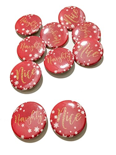 Nice Pinback Button - 10 pcs Naughty Nice Snowflake theme badge pin pinback button party favors Christmas gift