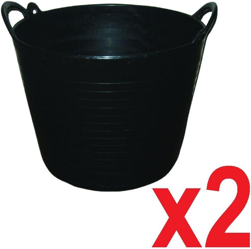 2 x 26 Litre Flexi Tub Garden Home Flexible Colour Rubber Storage Container Bucket Polyethylene Flex Tub Yellow MADE IN U.K.