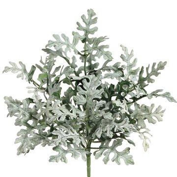 11'' Flocked Dusty Miller Silk Plant -Green/Gray (case of 24) by SilksAreForever