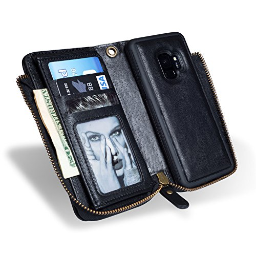INorton Galaxy S9 Plus Case, Zipper Magnetic Wallet Purse Case with Card Slots and Money Pocket, Retro Vintage Stand Smart Phone Sleeve for Galaxy S9 Plus by INorton (Image #2)