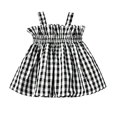 Baby Clothes Sets, Baby Girl Plaid Printed Sling Princess Sleeveless Tops Outfits by WOCACHI