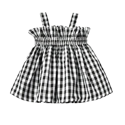 Baby Clothes Sets, Baby Girl Plaid Printed Sling Princess Sleeveless Tops Outfits by WOCACHI Back to School Clearance Sale