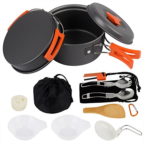 AnimaMiracle-Camping-Cookware-Set-Hiking-Camping-Backpacking-Gear-Camping-Outdoor-Survival-kits-Cooking-Equipment-pots-Mini-Non-stick-pan-Lightweight-Best-1415-Piece-Camping-Mess-kit