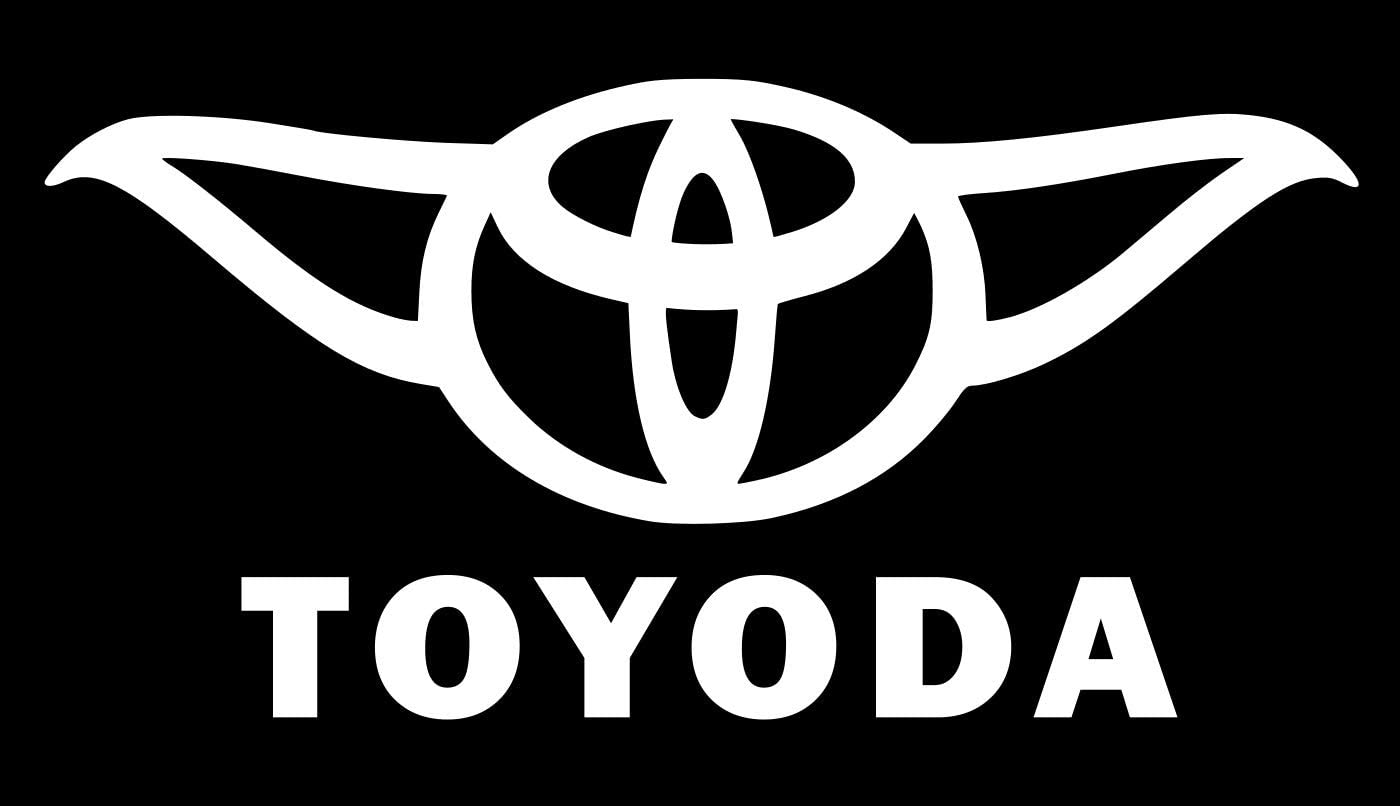 UR Impressions Toyoda Funny Yoda Decal Vinyl Sticker Graphics for Toyota Cars Trucks SUV Vans Walls Windows Laptop|White|5.5 X 3.3 inch|URI018