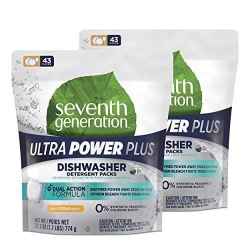Finish Fragrance Dual - Seventh Generation Ultra Power Plus Dishwasher Detergent Packs, Fresh Citrus Scent, 86 count