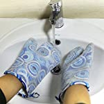 Silicone Oven Mitts Gloves for Pot Holders Heat Resistant Kitchen Mitts with Quilted Cotton Lining by WCountFair -1 Pair 12 Professional Silicone Oven Mitt:100% FDA Approved,BPA Free Silicone,commercial grade,non toxic and waterproof.11.5 inches long length to protect the forearms. Heat Resistant UP to 464° F (240 Degrees Celsius),can be also used as pot holders hot pads and toaster sleeves when cooking or grilling or to place hot pots and pans on top of. Non-Slip Kitchen Oven Mitts: Thick Cotton inner linings adds comfort and protection,easy to put on or remove.Rugged texturing of the mitts' exterior offers exceptional gripping power to enable grasping any pot or pan without slips or spills.