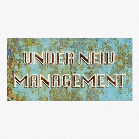Ghost Aged Blue Perforated Window Decal 96x48 Under New Management CGSignLab 5-Pack