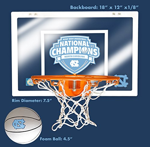 Unc Limited Edition 2017 Mens Basketball National Championship 12  X 18  Mini Backboard And Ball And Hoop Slam Jam Set
