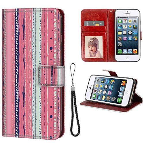iPhone 5, iPhone 5S, iPhone SE Wallet Case, Coral Doodle Lines Artistic Repeating Ornaments Vertical Stripes Abstract Pastel Coral Indigo Coco PU Leather Folio Case with Card Holder and ID Coin Slot