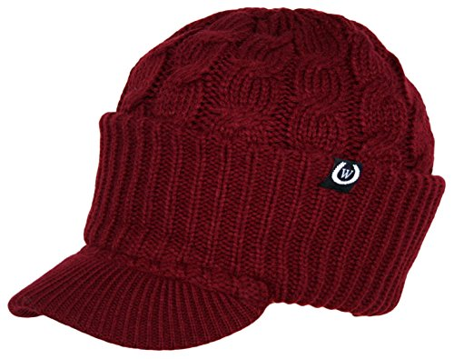 Newsboy Cable Knitted Hat with Visor Bill Winter Warm Hat for Women (Burgundy) (Knit Womens Hat Fashion)