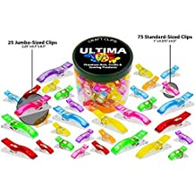 100 Craft Clips - 25 Jumbo Clips and 75 Standard - Multicolor Plastic Sewing Clips for Crafting and Quilting - Vibrant Colors - Sewing, Craft, Crochet, Knitting