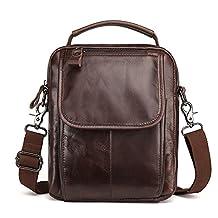 J.Market Mens Genuine Leather Shoulder Bag Messenger Bag Chest Bag Fanny Purse Crossbody Bag for Men Satchel Travel Bag School bags (Coffee)