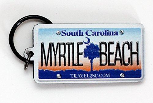 Myrtle Beach South Carolina License Plate Acrylic Keychain 2.5 x 1.5 Souvenir Destiny myrtlebeachlicensekeychain