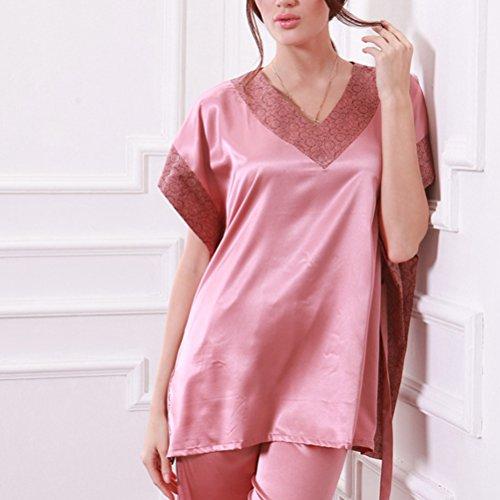 Zhhlaixing Ladies Silk Satin Pajama Set Lace Pyjama Set Luxury Silk Sleepwear Nightgown Dress Woman Bathrobe Pajamas 2123# Pink
