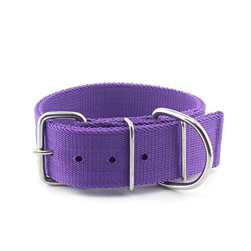 MEIKAI Adjustable Heavy Duty Tough Nylon Classic Dog Collar with Metal Buckle for Large Dog,2 Inch Width (Purple)