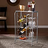 Southern Enterprises Marengo Wine Rack Storage Table in Silver Review