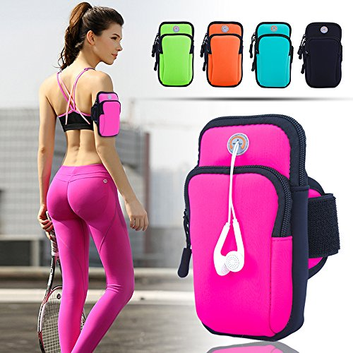 ANJ Outdoors Premium Elastic Water Resistant Running Armband for iPhone X, 8 Plus, 7, Galaxy Phones   Large Capacity Upper Arm Band to Hold Money, Cards and Keys   Ideal Running Phone Holder (Pink)