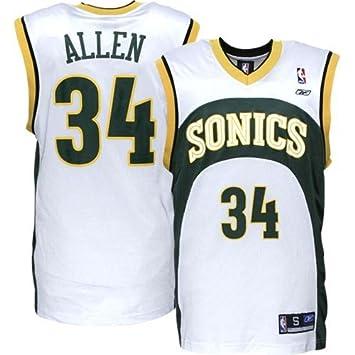 save off 3b9a6 5b80b Amazon.com : Reebok Seattle Supersonics #34 Ray Allen White ...
