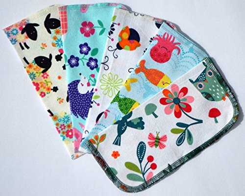 2 Ply Printed Flannel Washable. Whimsical Animal- Set Napkins 8x8 inches 5 Pack - Little Wipes (R) Flannel - Flannel Paper