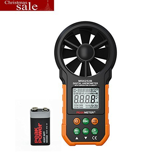 SynkTech MS6252B Digital Anemometer Wind Speed Air Volume Measurement USB Data uploading Air Humidity Flow Meter Anemometer by SynkTech