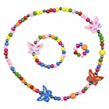 SmitCo LLC Kids Jewelry, Butterfly Stretch Necklace and Bracelet Set for Little Girls