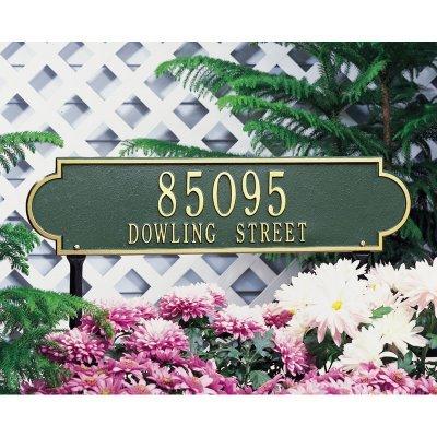 (Whitehall Products Richmond Rectangular Black/Silver Estate Lawn Two Line Horizontal Address Plaque)