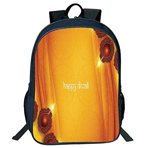 DKFDS Backpacks Unisex School Students Backpack,Diwali,Curtain Like Tribal Inspired Backdrop Wooden Oriental Style Carving Frwork Print,Yellow Kids, -