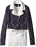 Beautees Big Girls' 2 Pc. Moto Jacket with Sherpa and Heart Screen Tee, Navy Sherpa, Medium