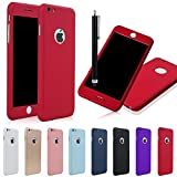 TKOOFN [2 in 1] Full Hybrid Acrylic Hard PC Case Cover for iPhone 6 Plus/6s Plus + Tempered Glass Screen Film + Stylus Pen ,Red