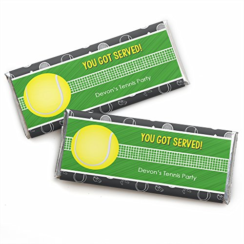 Personalized You Got Served - Tennis - Custom Baby Shower Or Tennis Ball Birthday Party Favors Candy Bar Wrapper - Set of 24