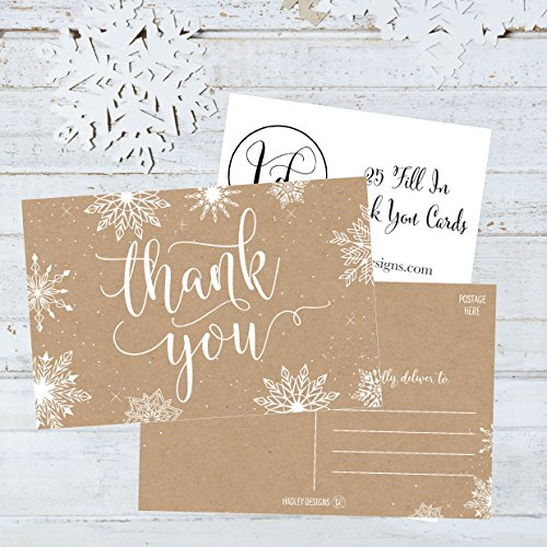 25 4x6 Blank Christmas Holiday Thank You Postcards Bulk, Cute Kraft Winter Snowflake Note Card Stationery For Wedding, Bridesmaids, Bridal or Baby Shower, Teachers, Religious, Business Cards Photo #4