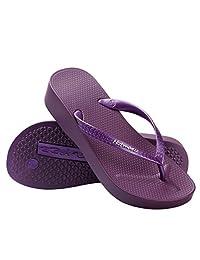 Hotmarzz Women's Platform Flip Flops Summer Wedge Sandals Beach Slippers
